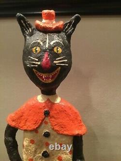 16 Halloween Monnie Wilson Papier Mache Black Cat Girl Trick or Treater