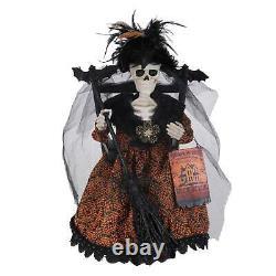 17 Karen Didion Skeleton Witch Chair Spooky Retro Vntg Halloween Decor Figurine