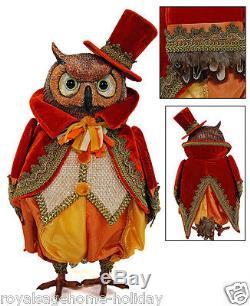 18-583613 Katherine's Collection 18 Autumn Wheat Owl Halloween Tabletop Figure