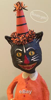 18 Halloween Black Cat 2014 signed Original Monnie Wilson papier mache