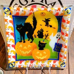 2003 PEGGY KARR BOO GLASS PLATE halloween decoration signed 10 square dish RARE