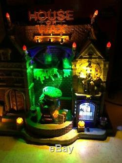2009 Lemax Spooky Town Signature HOUSE OF WAX Halloween Sounds Monster In Box