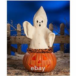 22.5 Bethany Lowe Ghost Pumpkin Jack O Lantern Retro Vntg Style Halloween Decor
