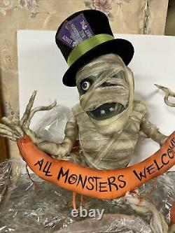 26 Katherine's Collection Spooky Mummy Halloween Monster Welcome Wall Sign