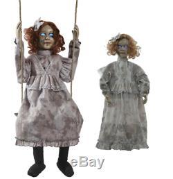 2 Dolls Halloween Animated Swinging & Haunted Doll Prop Decor Life Size Spirit