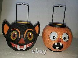 2 ILLUMINATIONS Glitter Vampire Bat Pumpkin Lantern Halloween 9 3/4 PLEASE READ