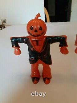 2 Old Vintage Halloween Plastic Candy Containers Holders Scarecrows Rosbro 1960s