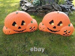 2 Vtg Union Blowmold Halloween Don Featherstone 3 Pumpkins Light 32 Signed NICE