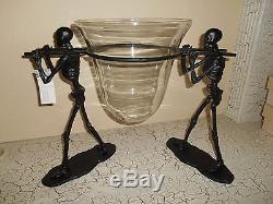 2pc POTTERY BARN Walking Dead Serve Bowl Set NEW Halloween Gothic Stand & Bowl