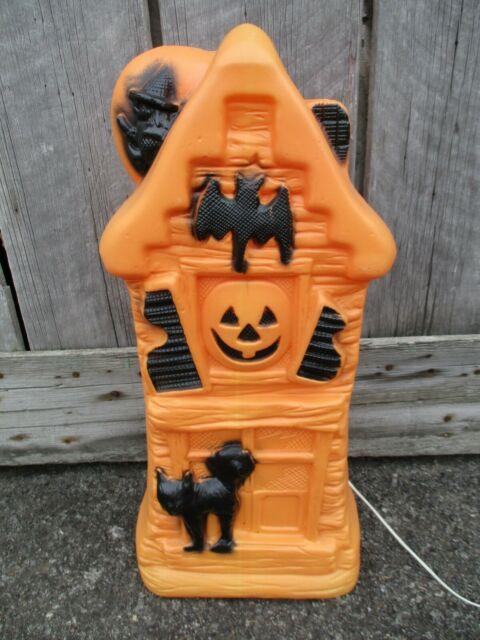 32 Haunted House Blow Mold Light Cat Witch Pumpkin Orange Halloween Htf Rare