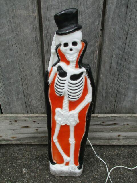 37 Skeleton With Tophat Blow Mold Lighted Halloween Vintage Union Products Rare
