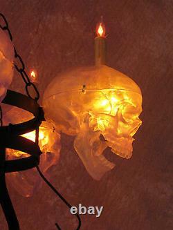 5 Clear Skull Chandelier, Halloween Prop, Human Skulls/Skeleton, NEW