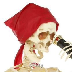 5 Ft ANIMATED SKELETON PIRATE SET OF 2 Halloween Prop HAUNTED HOUSE