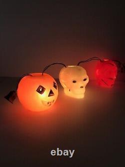 60s Vintage Halloween PEERLESS Blow Mold Light String DEVIL SKULL JACK-O-Lantern