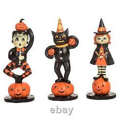 8 Set/3 Johanna Parker Black Cat JOL Witch Retro Vntg Halloween Figurines Decor