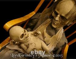 Animated Lullaby Rocking Granny Zombie with Baby WithSound Halloween Prop Witch
