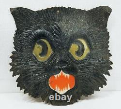 Antique German Die Cut Embossed Halloween Spooky Cat Face Decoration