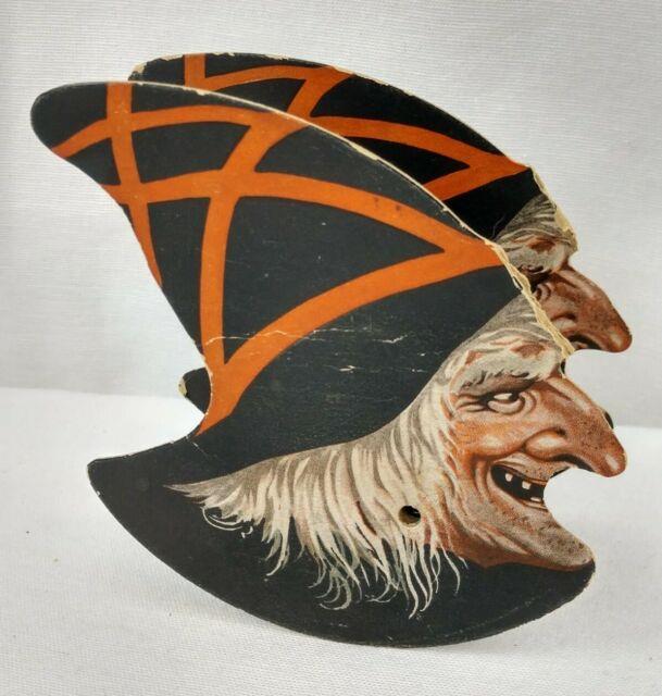 Antique Halloween Witch Squeaker Toy Noisemaker German Litho Cardboard