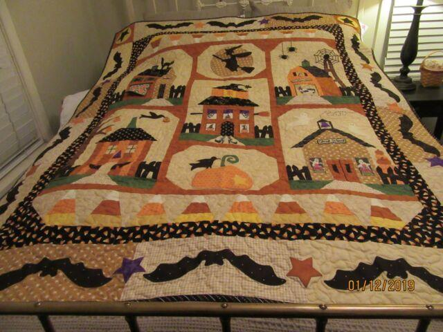 Awesome Halloween Quilt Handmade Witch Ghost Candy Corn Bats Black Cat 55x67