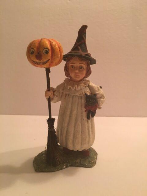 Bethany Lowe Designs Folk Art Girl Withblack Cat-pumpkin-broomstick Figurine