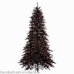 BLACK HALLOWEEN TREE PRE-LIT 7.5' BLACK FIR TREE With 600 ORANGE LED MINI LIGHTS