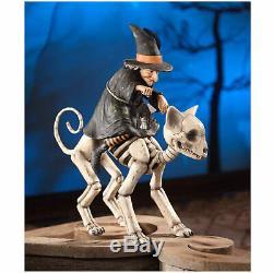 Bethany Lowe 16 Witch Riding Skeleton Cat Retro Vntg Halloween Decor Figurine