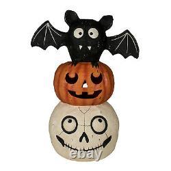 Bethany Lowe 20 Bat Skull Jack O Lantern Totem Pole Cute Retro Halloween Decor