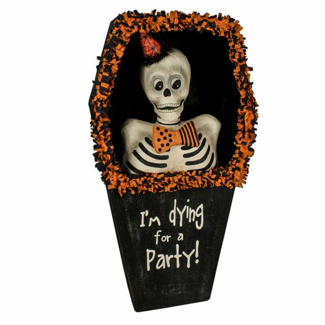 Bethany Lowe Coffin Dying For A Halloween Party Skeleton Retro Vntg Home Decor