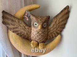 Bethany Lowe DISCONTINUED Large Hanging Owl Moon Paper Mache VINTAGE STYLE