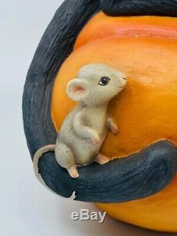 Bethany Lowe Designs Halloween Black Cat Witch on Pumpkin, item# TD9085