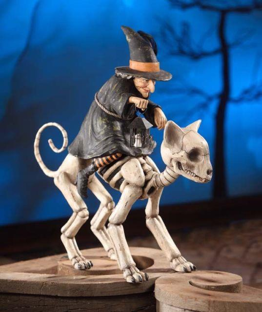 Bethany Lowe Designs Halloween Witch Riding Skeleton Cat Td6022