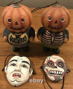Bethany Lowe Greg Guedel Halloween Pumpkin Head Trick/Treat Ornaments-Retired