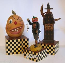 Bethany Lowe HALLOWEEN CHECKERED DISPLAY BOXES. SET OF 4. AWESOME