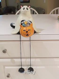 Bethany Lowe Halloween Black Cat in Ghost Costume Long Legged Shelf Sitter