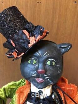 Bethany Lowe Halloween Black Cat's Midnight Ride-Rare-retired