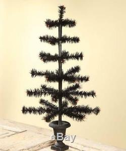 Bethany Lowe Halloween Black Feather Tree with Glitter Urn Base, 28 Tall
