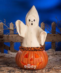 Bethany Lowe Halloween Ghost Coming Out Of Pumpkin New 2018 TJ7746 Large