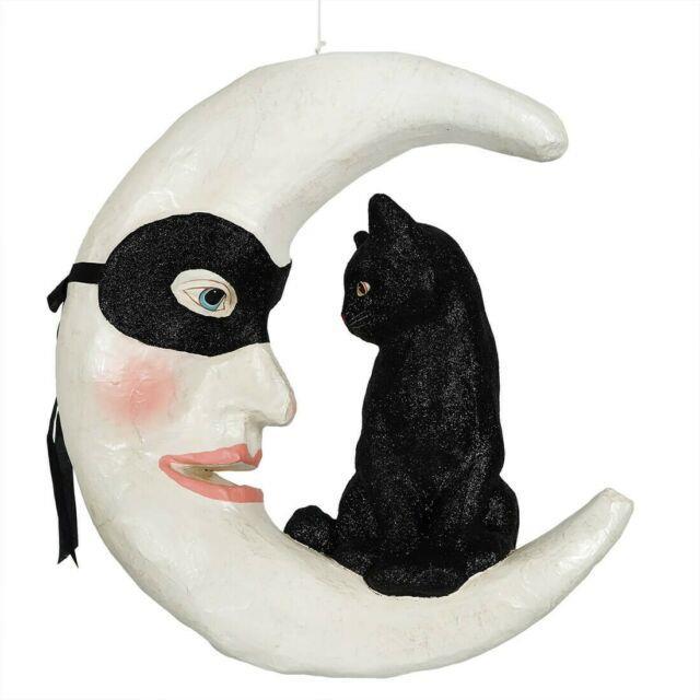 Bethany Lowe Halloween Hallow's Eve Cat On Moon Td9050 Black Cat On Masked Moon