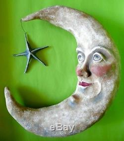 Bethany Lowe Halloween Large Moon with Face & Star retired vintage 18 tall RARE