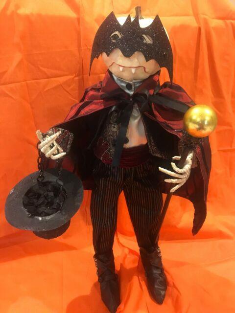 Bethany Lowe Halloween Love At First Bite Pumpkin Head Dracula Withbat Mask-rare
