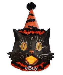Bethany Lowe Halloween Paper Mache Large Sassy Cat Lantern, 15'' x 20''H