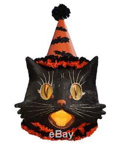 Bethany Lowe Halloween Paper Mache Sassy Cat Large Lantern, 15'' x 20''H