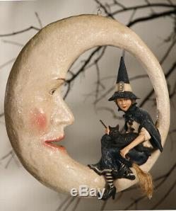 Bethany Lowe Halloween Paper Mache Witch On Moon, 16'' X 16''H