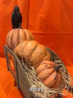 Bethany Lowe Halloween Raven Farms Pumpkins Haunted Wheel BarrowRetired