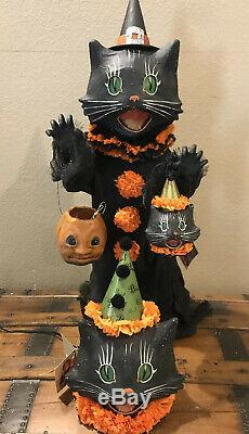 Bethany Lowe Halloween Scaredy Cat Ghoul & 2 Sassy Cat Lanterns-withLights Incl