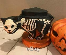 Bethany Lowe Halloween Skeleton Cat-Lg Paper Mâché-retired-Light Included