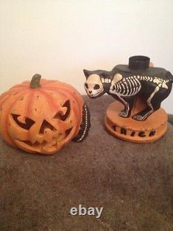 Bethany Lowe Halloween Skeleton Cat-retired- Tea Light Included
