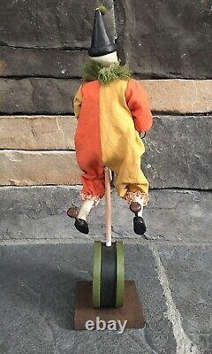 Bethany Lowe Halloween Skeleton One Man Band Clown Cymbals Unicycle New