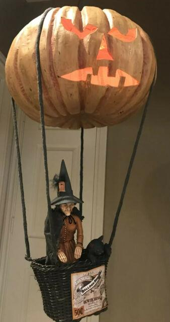 Bethany Lowe Halloween Witch In A Hot Air Balloon Withblack Catretired