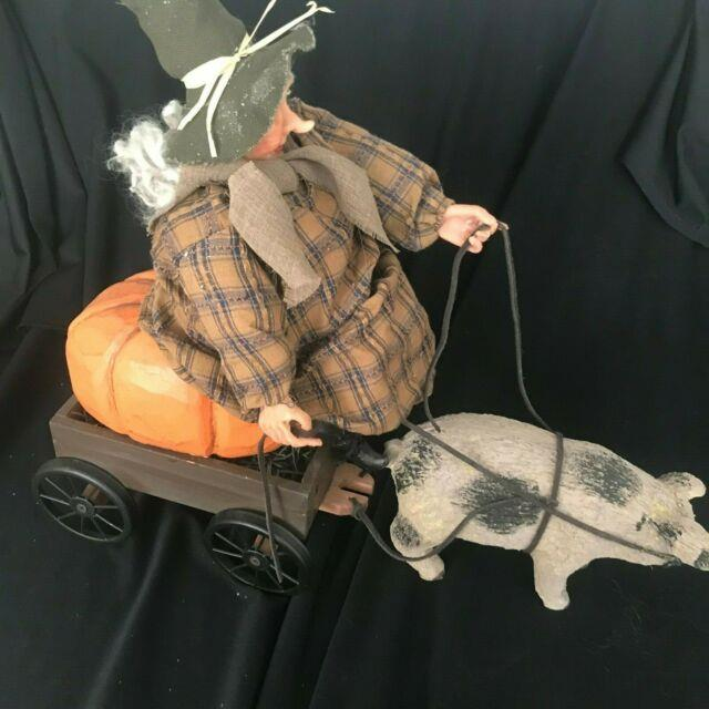 Bethany Lowe Halloween Witch On Pumpkin In Wagon Drawn By Pig Unmarked Rare